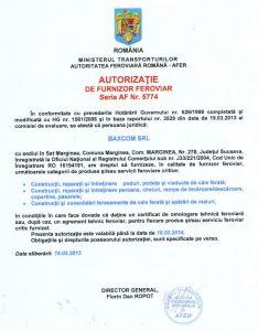 Autorizatie de Furnizor Feroviar AF 5774