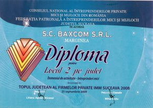 Diploma Domeniul de activitate locul 2 pe judet