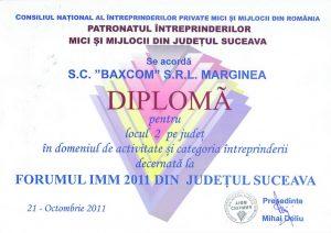Diploma locul 2 pe judet in domeniul de activitate si categoria intreprinderii
