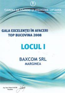 Gala Excelentei in Afaceri Top Bucovina 2008 Locul 1